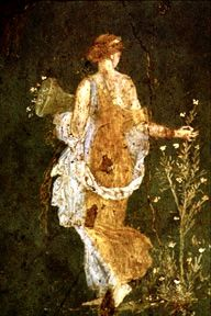 Flora Picking Flowers by the Sea. Fresco found in the ruins of Pompeii, Italy