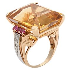 Retro Citrine Ruby & Diamond Ring | From a unique collection of vintage cocktail rings at https://www.1stdibs.com/jewelry/rings/cocktail-rings/