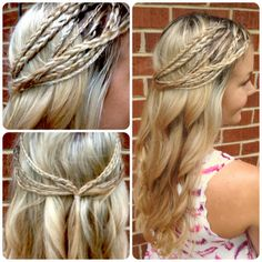Hippie Braids Half Up & Curls: Curl hair into soft waves then grab selected strands of hair and braid them. When you finally gathered several strands of braids from both sides of your head, pull them back loosely then secure with bobby pins or an elastic hair band.