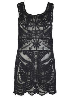 Black Crochet Lace Sleeveless Dress with Mesh Panel