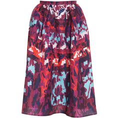 PETER PILOTTO Long Printed Emma Skirt ($575) ❤ liked on Polyvore featuring skirts, long maxi skirts, mid length skirts, purple maxi skirt, long purple skirt and long skirts