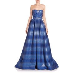 Pamella Roland Strapless Ombr Organza Gown ❤ liked on Polyvore featuring dresses, gowns, blue ball gown, blue evening dress, masquerade ball gowns, organza gown y strapless evening gown