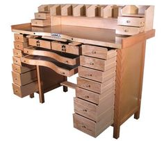 Oh yeah! ♥♥ In my wildest dreams! Hardwood constructed jeweler's workbench with 16 spacious storage drawers and two aluminum catch trays. Pre-drilled for mounting mandrels with an aluminum slot for a bench pin and a metal work plate. Woodworking Bench, Woodworking Crafts, Woodworking Workshop, Jewelers Workbench, Jewellers Bench, Workbench Plans, Folding Workbench, Workbench Stool, Garage Storage
