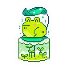 Image in Digital pixel art collection by CMZ Perler Bead Templates, Perler Patterns, Pixel Art, 8bit Art, Animal Crossing Game, Cute Frogs, Flag Design, Art Model, Cute Stickers