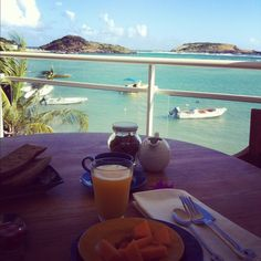 eating breakfast with a view
