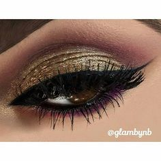 """repost from @glambynb  Arabic Eye  PRODUCTS USED: @anastasiabeverlyhills Dip Brow Pomade in """"Dark Brown""""   @morphebrushes 35B & 35W eyeshadow palette   @motivescosmetics """"Gold Digger"""" glitter eyeliner for the lid Lustrafy Mascara and """"Little Black Dress"""" gel eyeliner   Tear duct highlight was @thebalm_cosmetics """"Mary-Lou Manizer"""" highlight   @lagirlcosmetics """"Very Black"""" eyeliner pencil for the water line   Lashes were @lillylashes in """"London""""…"""