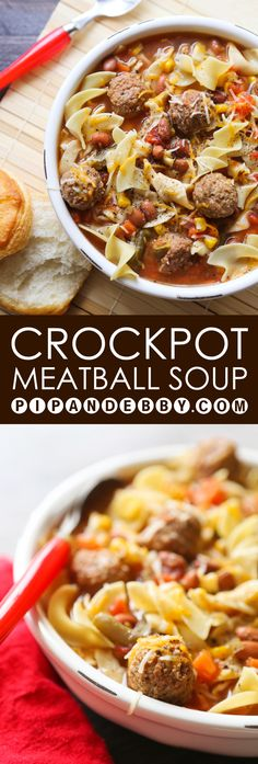 EASY Crockpot Meatball Soup | There is NO PREP involved with this delicious dinner! This soup is super easy and soooo yummy.
