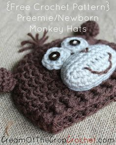 Cream Of The Crop Crochet ~ Preemie/Newborn Monkey Hats {Free Crochet Pattern}