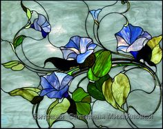 Витраж flora-030 - Morning glory flower stained glass