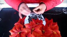 Poinsettias in a White Vase - 86023 #Handmade #Silk #Embroidery #Art completely handmade by master artists in Suzhou, China. Asian decor for Feng Shui, Gifts & Art Collectors. Please visit our website at www.queensilkart.com.  You can also find King Silk Art's shop on Amazon.com or visit our Etsy shop at: https://www.etsy.com/shop/KingSilkArt