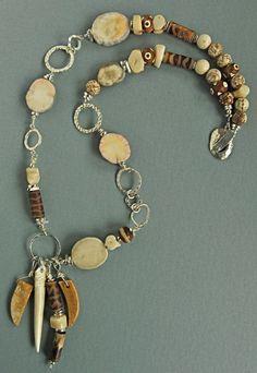 Moose antler, silver, tibetan agates Karyn Armour