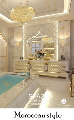 Luxury Moroccan bathroom decor and design for private house. The design is created by Spazio Interiro Decoration in Dubai. Interior Design Dubai, Interior Design Companies, Luxury Homes Interior, Luxury Home Decor, Moroccan Bathroom, Moroccan Tiles, Moroccan Interiors, Bathroom Design Luxury, Pooja Rooms