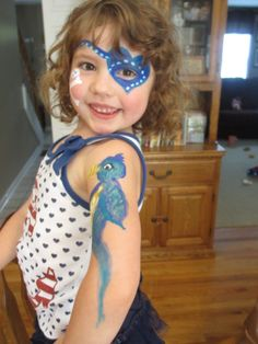Face painting fun: little girl pirate with tropical bird. Pirate Face Paintings, Girl Pirates, Tropical Birds, Painting For Kids, Little Girls, Face Fun, Carnival, Halloween, Makeup