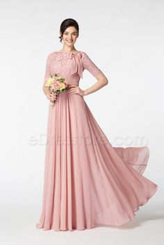 Modest Lace Blush Bridesmaid Dresses with Sleeves Bow Blush Colored Bridesmaid Dresses, Bridesmaid Dresses With Sleeves, Blush Dresses, Modest Dresses, Formal Gowns With Sleeves, Indian Gowns Dresses, Evening Dresses, Dinner Gowns, Pakistani Wedding Outfits