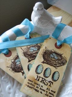 Aqua and Brown Bird Nest tags by CharonelDesigns on Etsy, $3.95