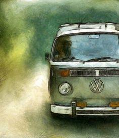 """""""Volkswagen Camper Van"""" by Michelle Calkins, Holland, Michigan // A great way to ride! // Imagekind.com -- Buy stunning, museum-quality fine art prints, framed prints, and canvas prints directly from independent working artists and photographers."""