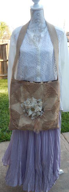Shabby Chic Handmade Romantic Burlap Crocheted by CrossMyHeartBags
