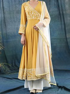 Mustard Cotton Silk Anarkali With Off White Palazzo And Dupatta