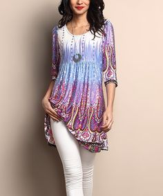 Another great find on #zulily! White & Lilac Empire-Waist Tunic Dress #zulilyfinds
