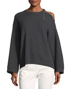 Cashmere Cold-Shoulder Monili Pullover