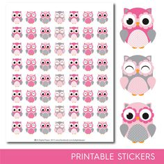 Pink Owl stickers, Owl planner stickers, Owl sticker, Woodland stickers, Animal stickers, Forest animal stickers, STI-275 Printable Stickers, Printable Planner, Planner Stickers, Free Printables, Life Planner, Happy Planner, Planner Diy, Perfect Planner, Project Life