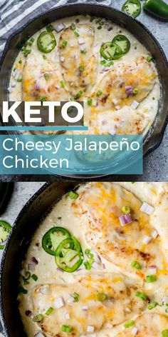 This One Pan Cheesy Jalapeño Chicken is the perfect easy keto dinner with just 5 net carbs! This recipe is perfect for busy nights and easy keto meal prep! dinner Keto Cheesy Jalapeño Chicken (one pan) Ketogenic Recipes, Ketogenic Diet, Low Carb Recipes, Diet Recipes, Cooking Recipes, Healthy Recipes, Slimfast Recipes, Recipes Dinner, Yam Recipes