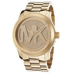 Michael Kors Women's Runway Crystal Gold-Tone Stainless Steel... ($200) ❤ liked on Polyvore featuring jewelry, watches, bracelet watches, austrian crystal bracelet, crystal watches and pandora bracelet