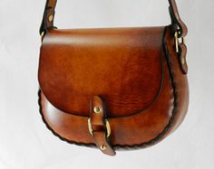 Handmade Latigo Bag - Hand-dyed, hand-stitched - Solid Brass hardware with button down clasp (Kaw Valley Leather) Leather Art, Leather Design, Leather Tooling, Leather Purses, Leather Handbags, Leather Wallet, Leather Workshop, Medicine Bag, Leather Bags Handmade