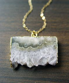 Green Stalactite Gold Necklace OOAK by friedasophie on Etsy