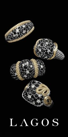 Nightfall cocktail rings with black spinel, 18k gold and pavé diamonds. LAGOS Jewelry