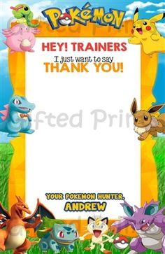 Pokemon Thank You Card Birthday Thank You Cards, Printable Thank You Cards, Themes Free, Customer Service, Birthday Invitations, Pokemon, Digital, Prints, Customer Support