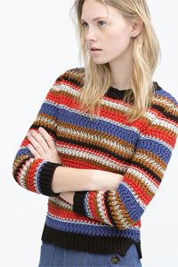 Multi-coloured striped sweater