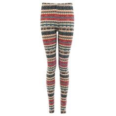 Wine Knitted Fairisle Leggings ($5.93) ❤ liked on Polyvore featuring pants, leggings, bottoms, jeans, fair isle leggings and fairisle leggings