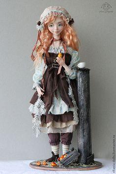 Купить Барбара - бежевый, барышня, коллекционная кукла, подарок, бохо, свобода, Ливинг долл, батист