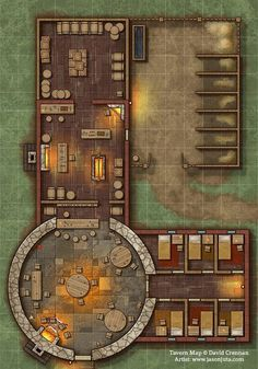 Tavern Map by jasonjuta - - - Baustil Dungeons And Dragons Homebrew, D&d Dungeons And Dragons, Rpg Wallpaper, Fantasy City Map, Pathfinder Maps, Building Map, Building Games, Rpg Map, Map Layout