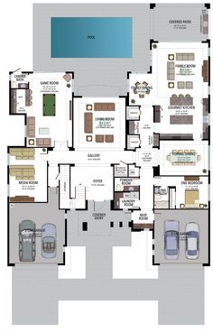 Bedroom House Plans, House Floor Plans, Home Design Plans, Plan Design, House Blueprints, Luxury Living, Palazzo, Modern Architecture, Florida