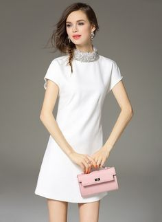 5ecd7fc67426 White Cotton Dress Cotton Solid Short Sleeve Above Knee Casual Dresses
