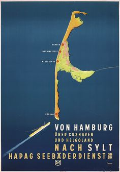 Original 1930s German HAPAG Travel Poster SYLT ISLAND