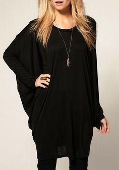 Black Round Neck Bat Sleeve Spandex T-Shirt