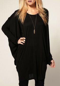 Black Round Neck Bat Sleeve Spandex Top