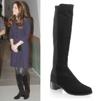 Kate debuted the 'Half N' Half' Stretch Rider boots from Stuart Weitzman in November 2014 at a SportsAid workshop.  These knee-high riding boots feature a suede shaft with stretch elastic back panel. They have a low 4 cm stacked block heel.