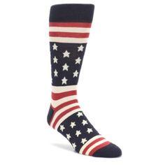 Rustic Red Navy American Flag Men's Dress Socks American Flag Socks, Flag Dress, Tall Socks, Size 13 Shoes, Wedding Socks, Patterned Socks, Colorful Socks, Dress Socks, Fun Socks