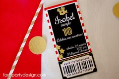 Hollywood Party TICKET Printable Invitation by by FaraPartyDesign