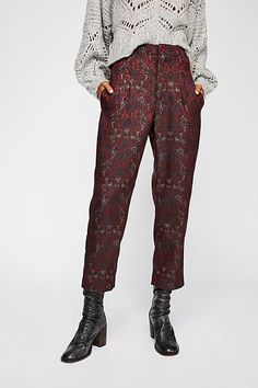 Audrey Cigarette Pant - Maroon Patterned Trouser Pant Trouser Pants, Wide Leg Pants, Corporate Fashion, Vegan Fashion, Style Me, Cool Outfits, Casual, How To Wear, Free People