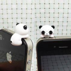 35OFF Cute White Black Hanging Panda Dust Plug 3.5mm by Polaris798, $3.98