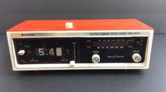 VTG-Hitachi-FM-AM-Digital-Flip-Clock-Radio-Orange-Solid-State-KC-522-Mid-Modern