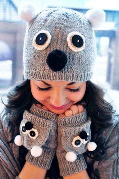 Care to Cuddle? Koala and Owl Animal Hat and Fingerless Mitten Set Knitting pattern by Lauren Riker Crochet Gloves, Knitted Hats, Knit Crochet, Crochet Granny, Animal Hats, Owl Animal, Owl Pet, Fingerless Mittens, Mitten Gloves