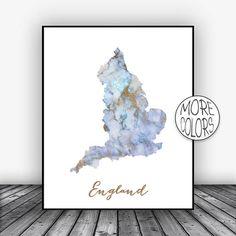 England Print Watercolor Print England Map Art Map