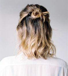 Cute Half-up Bun for short hair girls