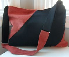 Red and Black Slouchy Fabric Purse blocky color